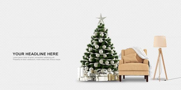 3d 렌더링에서 크리스마스 트리와 안락의 전면보기