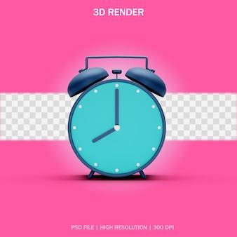 3d 디자인의 투명한 배경이 있는 진한 파란색 알람 시계의 전면 보기