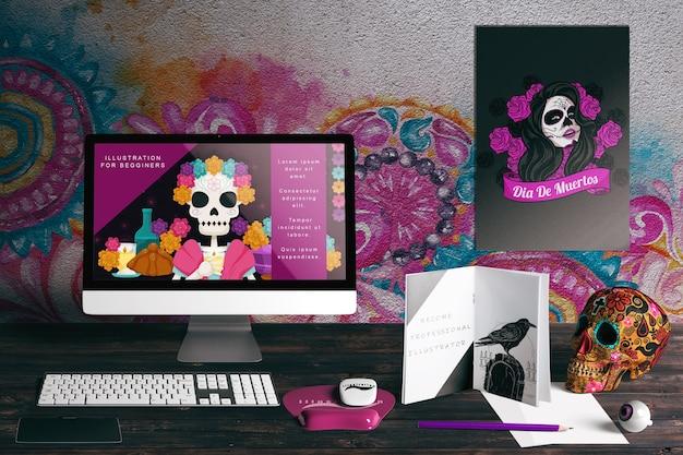 Вид спереди на макет концепции dia de muertos