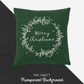 녹색 크리스마스 베개 모형의 전면보기
