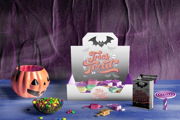 Вид спереди концепции хэллоуин на деревянный стол