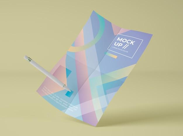 Вид спереди макет бумаги с ручкой