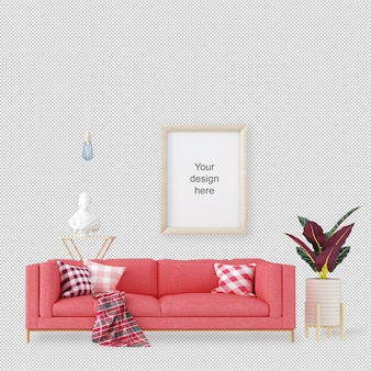 Вид спереди макет рамы с диваном и растений
