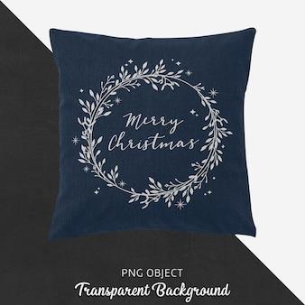 네이비 블루 크리스마스 베개 모형의 전면보기