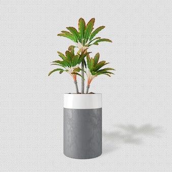 Вид спереди растения в горшке в 3d-рендеринге