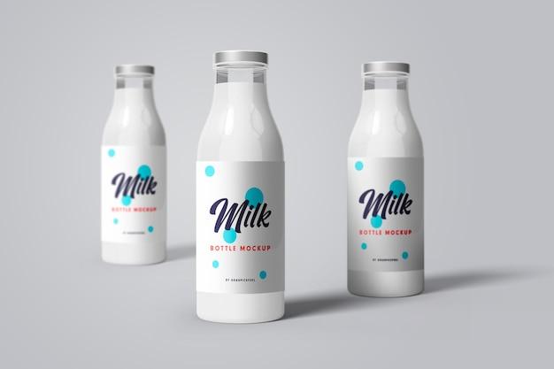 현실적인 우유 병 모형의 전면보기
