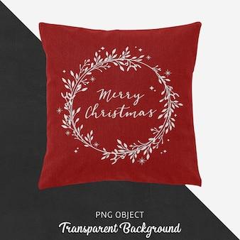 빨간 크리스마스 베개 모형의 전면보기