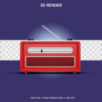 3dデザインの透明な背景を持つ赤い古典的なラジオの正面図