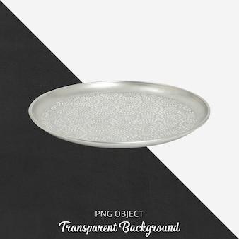 Вид спереди серебряной круглой тарелки или макета подноса