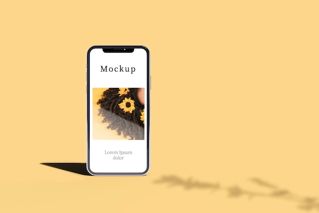 シャドウとコピースペースを持つスマートフォンの正面図