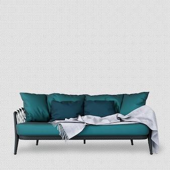 Вид спереди дивана в 3d-рендеринга