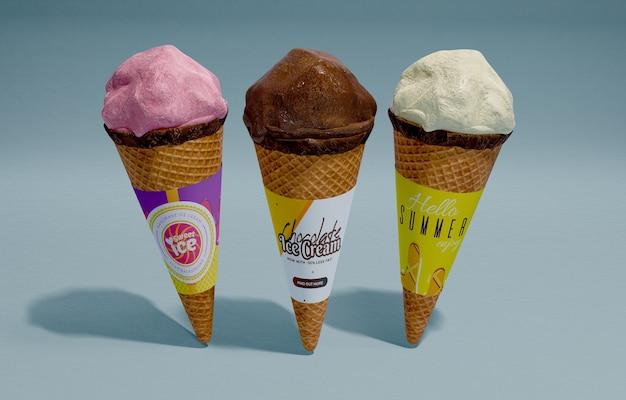 Вид спереди три мороженого с разными вкусами
