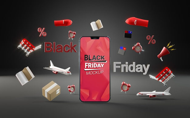 Front view offers for black friday dark background