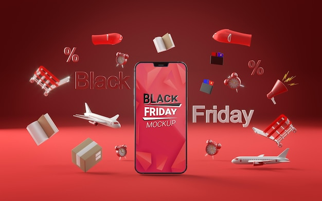 Front view offers for black friday red background
