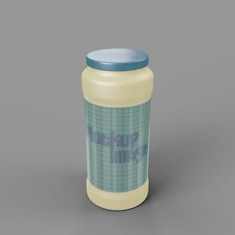 Вид спереди на макет глянцевой пластиковой бутылки