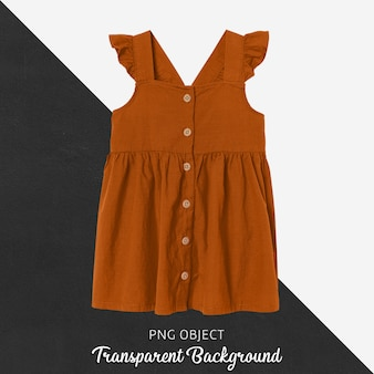 Front view of orange children dress mockup