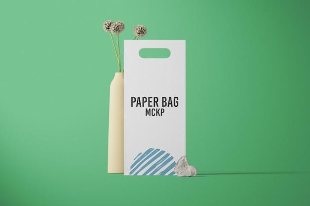 正面図の紙袋のモックアップデザイン