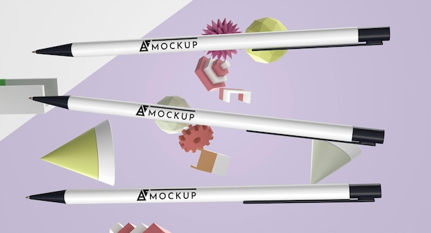 Vista frontale del mock-up della merce delle penne