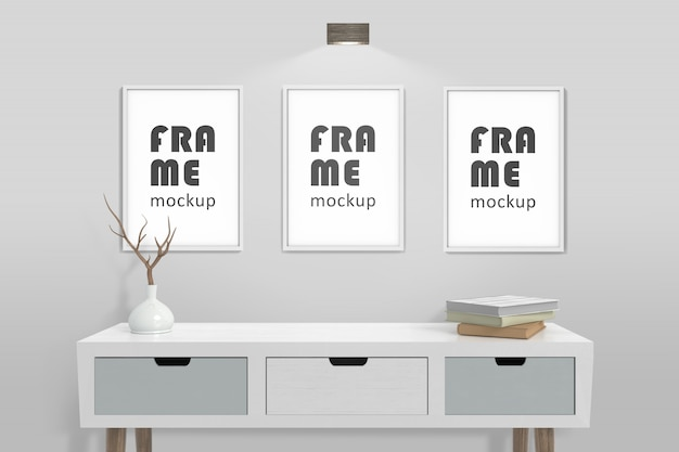 Front view photo frames mockup