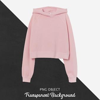 Front view of pink crop hoodie mockup