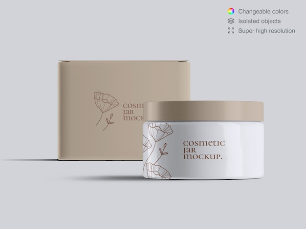 Front view plastic cosmetic face cream jar and cream box mockup template