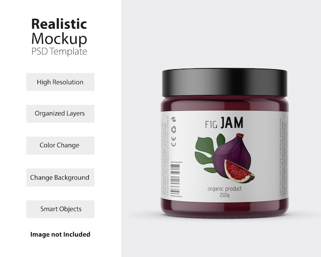 Front view of plastic jar with label mockup