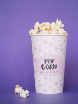Front view of popcorn for cinema in cup