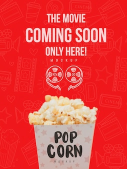 Front view of popcorn cup for cinema