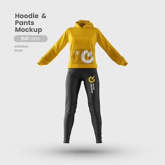 Front view of premium customizable woman hoodie and pants mockup