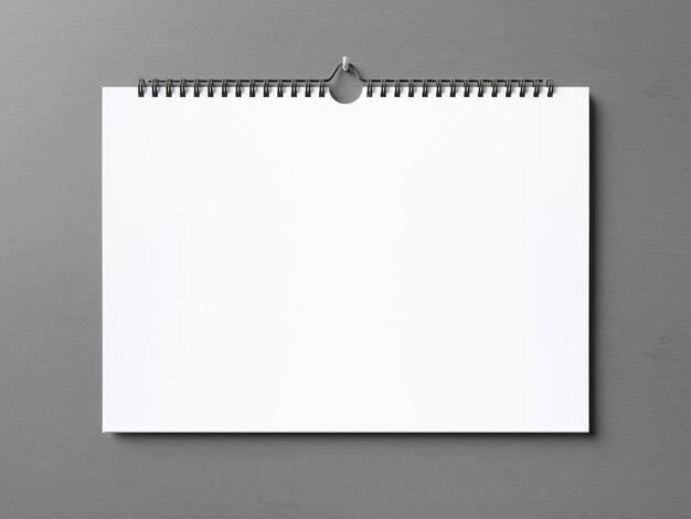 Front view realistic hanging calendar mockup