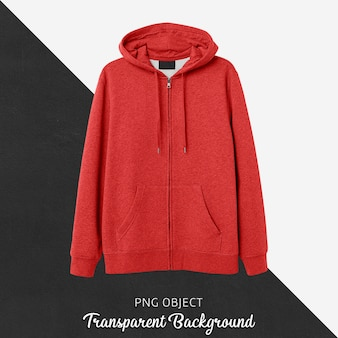 Front view of red hoodie mockup