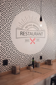 Front view retro brand restaurant wallpaper