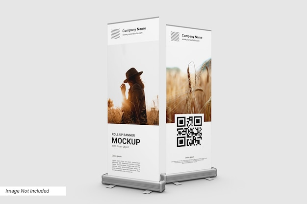 Front view roll up banner mockup
