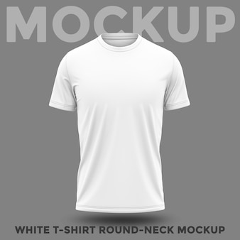 Front view of shirt with round neck mockup