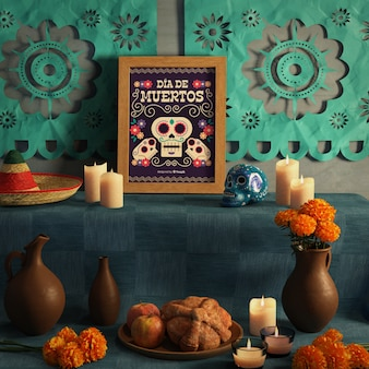 Front view shot of dia de muertos mock-up with skull