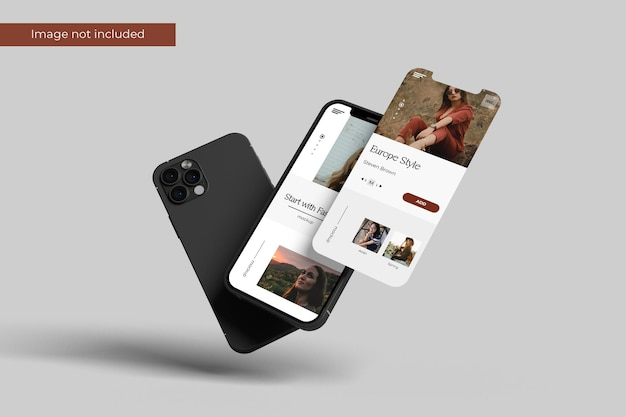 Front view smartphone and screen mockup design in 3d rendering