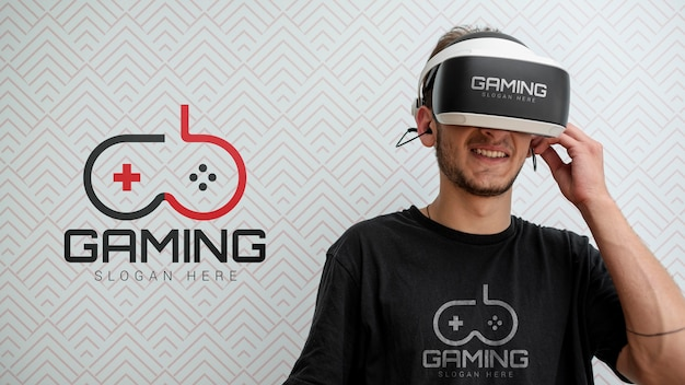 Front view smiley guy wearing vr glasses