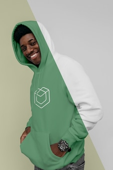 Front view of smiley man in hoodie