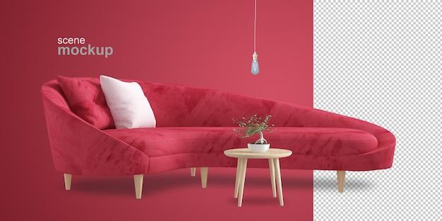 Front view of sofa in 3d rendering