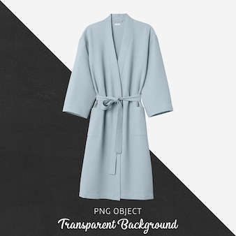 Front view of soft blue bathrobe mockup