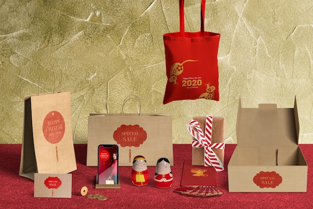 Front view special gift sales with wrapping paper and boxes