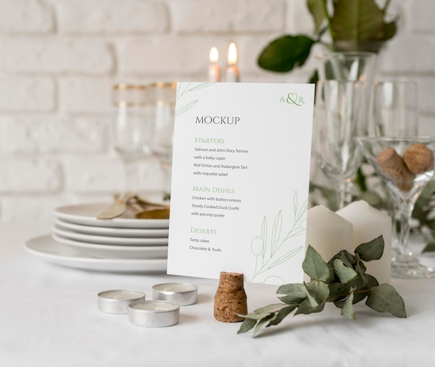 Front view of spring menu mock-up with flowers and candles