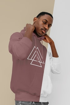 Front view of stylish man in hoodie