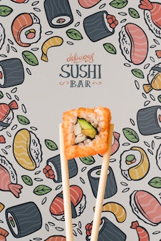 Front view of sushi and chopstick on colorful background
