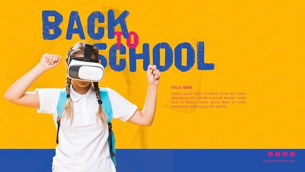 Front view teenager girl with virtual reality glasses