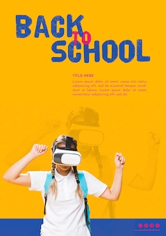 Ragazza dell'adolescente di vista frontale con i vetri di realtà virtuale