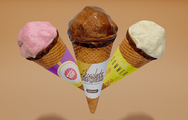 Front view of three ice cream cones with different flavors
