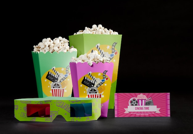 Front view of threedimensional glasses with cinema popcorn