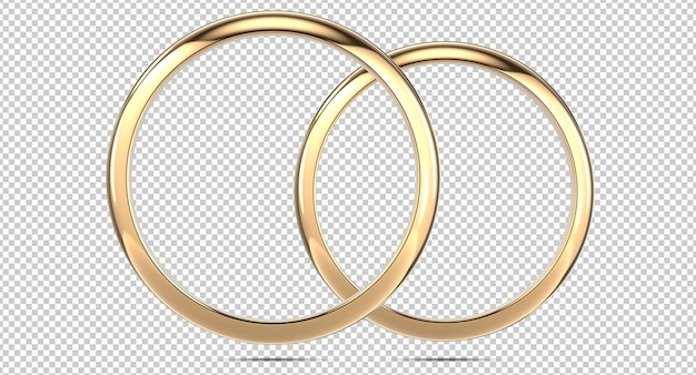 Front view of two golden wedding engagement rings