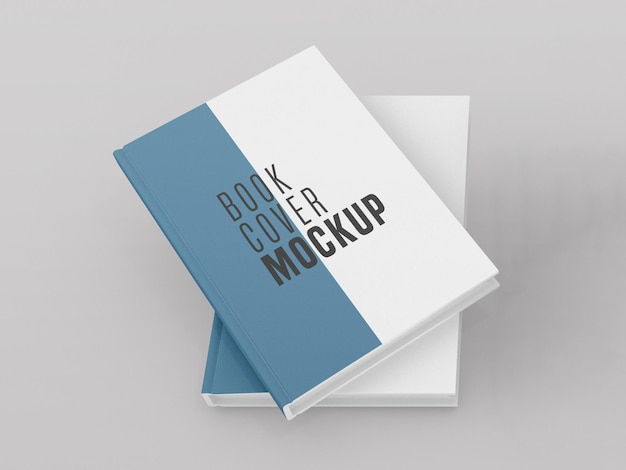 Front view two hard cover book  mockup